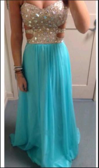 open front sky blue dress diamond dress long prom dress open back prom dress