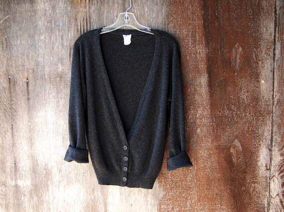 Vintage 1970's lightweight charcoal grey cardigan by GloriousMorn
