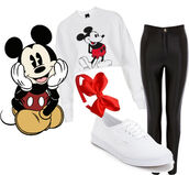 pants,mickey mouse,red bow,white vans,black leather pants,sweater
