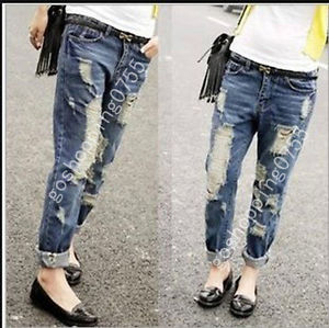 Loose Destroyed Ripped Motorcycle Boyfnknd Pants Distressed Denim Crop Jeans | eBay