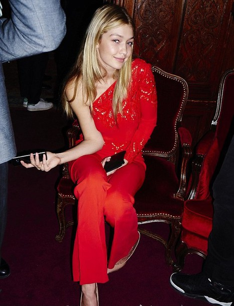 jumpsuit gigi hadid red event fashion