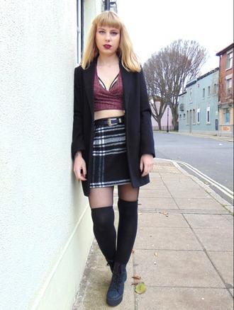 the velvet black grunge blogger coat top underwear skirt shoes