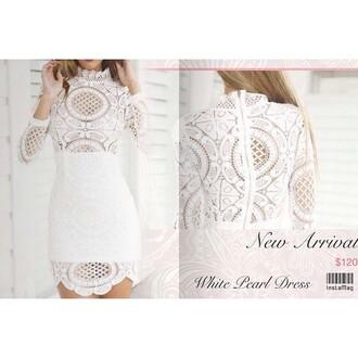 dress lost souls white dress white lace white lace dress crochet long sleeves mini dress high neck lace dress stunning dress elegant dress beautiful classy dress