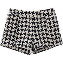 Houndstooth Print Split Shorts