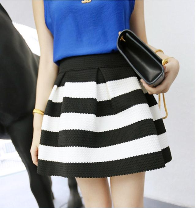 Aliexpress.com : Buy 2014 New Sweet Cute Women Girls Retro Flared Striped Casual Sexy Lady Skirts Mini Dress Black Blue from Reliable skirt under wedding dress suppliers on Shenzhen Gache Trading Limited