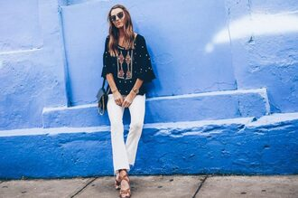 prosecco and plaid blogger jeans blouse shoes bag sunglasses jewels