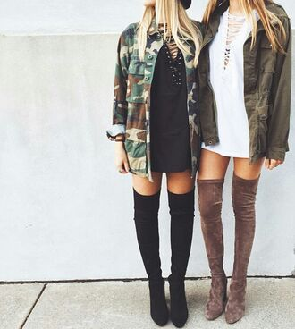 dress black black dress white white dress black and white boots thigh high boots army green jacket shoes jacket green camouflage shirt over the knee boots camo jacket grey brown army green