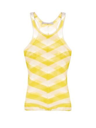 tank top top knit sheer yellow