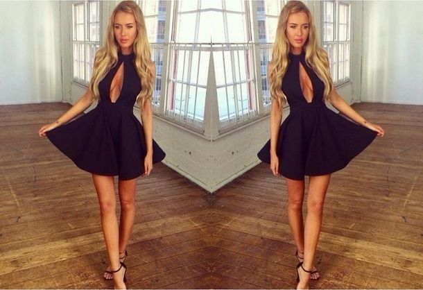 Ladies Sexy Party Glam Black TOWIE Plunge Back Front Cutout Skater Tutu Dress