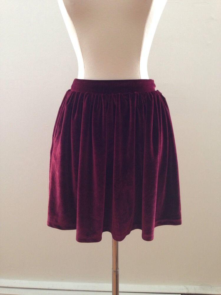 topshop maroon burgundy stretch velvet skater skirt