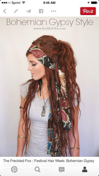 hair accessory headband chic long colorful bohemian