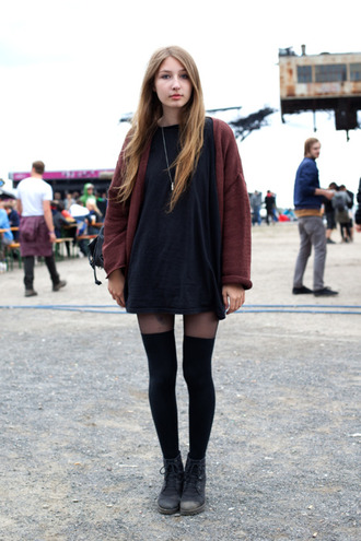 burgundy cardigan shirt dress black colorblock stockings bag coat shirt underwear