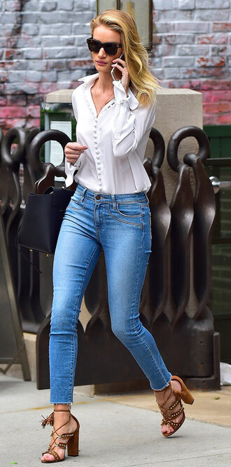 blouse shirt jeans sandals rosie huntington-whiteley skinny jeans sunglasses casual friday