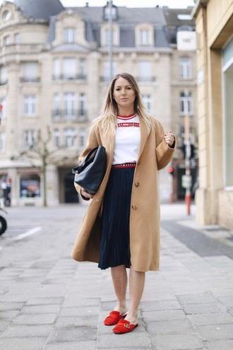 shoes red shoes loafers gucci skirt midi skirt black skirt coat camel coat camel white t-shirt t-shirt