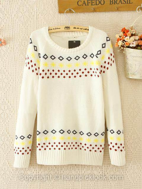 White Round Neck Long Sleeve Wool Pullovers Sweater - HandpickLook.com