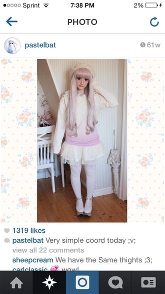 sweater pastel pastel goth goth grunge soft grunge new white ombre pink