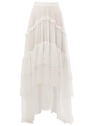 skirt maxi skirt maxi pleated women white silk