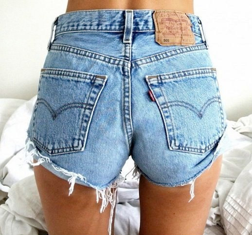 501 High Waisted Vintage Denim Shorts - Frayed and Distressed Levi