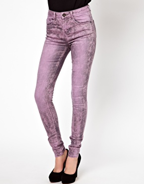 Pink | ASOS Ridley Supersoft High Waisted Ultra Skinny Jeans In Pink Marble Wash at ASOS