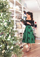 skirt,tumblr,midi skirt,green skirt,top,black top,long sleeves,off the shoulder,off the shoulder top,sandals,sandal heels,high heel sandals,christmas,holiday season