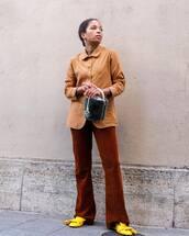 bag,handbag,basket bag,fluffy,mules,wide-leg pants,shirt,earrings