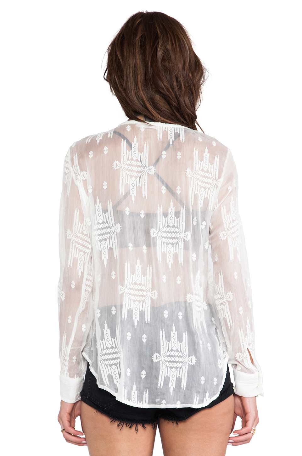 Capulet Lace Up Blouse in White Aztec from REVOLVEclothing.com