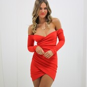 long sleeve dress,bodycon,off the shoulder dress,red dress,party dress,necklace,jewels