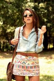 shirt,blue denim shirt,studz,studs,aztec skirt,skirt,tribal pattern,denim,clothes