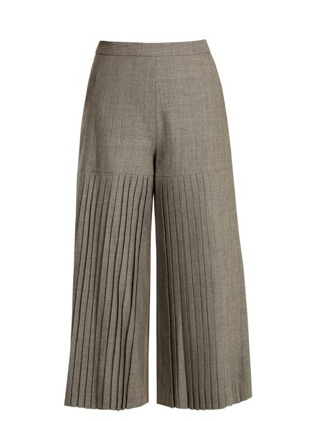 Osman culottes pleated wool grey pants