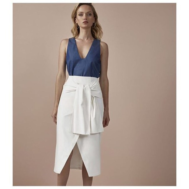 skirt shop fourmi front tie midi skirt white skirt cameo cmeocollective fashion style