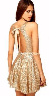 dress,gold,gold sequins,backless sequin mini dress,sleeveless,sleeveless dress,sleeveless sequined party dress,gold sequins mini a line dress,gold sequins mini skater dress,backles gold sequin dress,open back,backless,sexy,cute,cute dress,sexy dress,sexy party dresses,skater party dress,sequined skater mini  dress,bow,bows,bow dress,prom dress,gold sequin prom dress,sequin mini prom dress,skater prom dress,preppy,date dress,glitter dress,sparkly dress,fashion toast,fashion vibe,girly,tumblr,tumblr dress,tumblr outfit,moraki