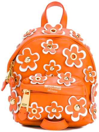 mini backpack leather yellow orange bag