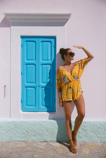 romper floral romper tumblr floral yellow sandals flat sandals sunglasses summer outfits shoes