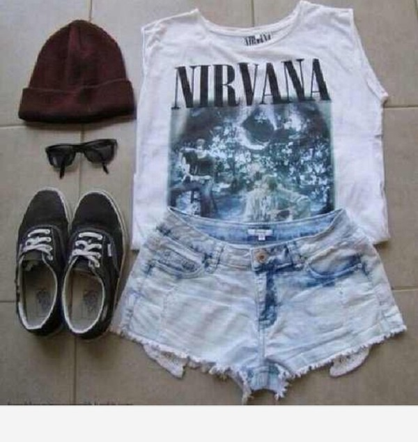 shirt nirvana shorts denim vans beanie sunglasses boho hipster grunge alternativr alternative t-shirt scarf shoes hat