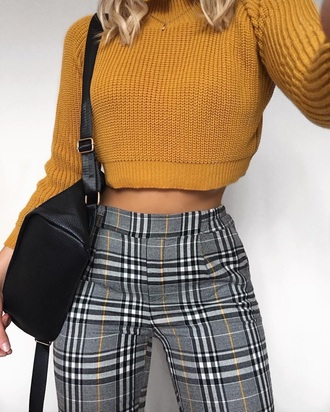 pants grey yellow black checked checkered pants mustard jeans tartan tartan trousers black classy sweater crop tops orange knitted sweater purse plaid plaid pants yellow black trouser
