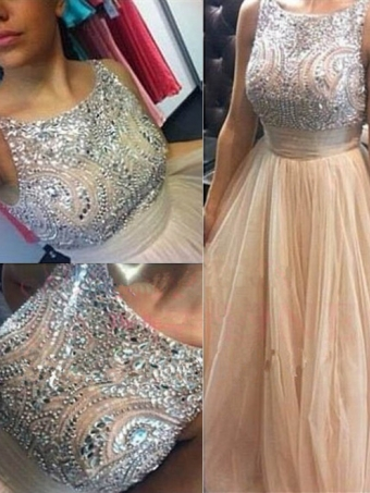 Pretty A-line beaded round neckline Long Prom Dresses, Evening Dresses [B0068] - $269.00 : 24inshop