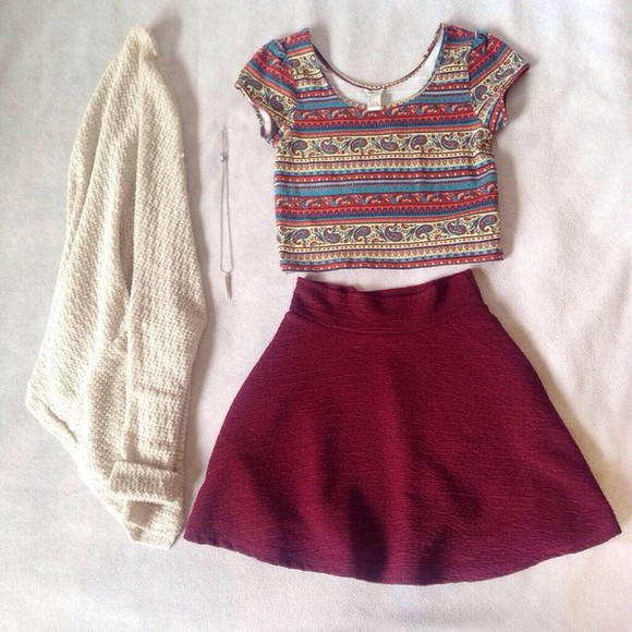 skirt necklace white crop tops sweater pattern outifit fall sweater burgundy skirt burgundy maroon/burgundy style boho shirt creme fashion top cardigan Belt crop tribal pattern t-shirt