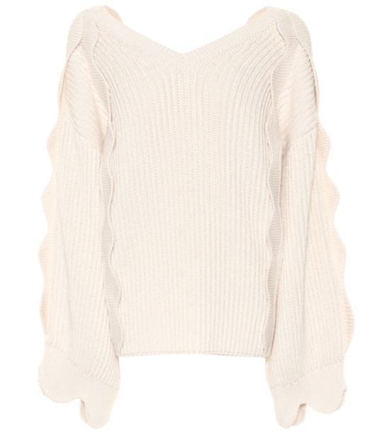 Stella McCartney Cotton and wool sweater in white