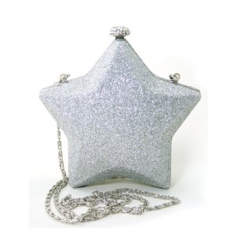 Amazon.com: Ladies' Rhinestone Embellished Glitter Shining Star Crossbody Clutch/Purse (Silver): Clothing