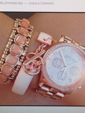 jewels,rose gold watch,gold,marc jacobs watch,marc jacobs,leather,watch,bracelets,please n