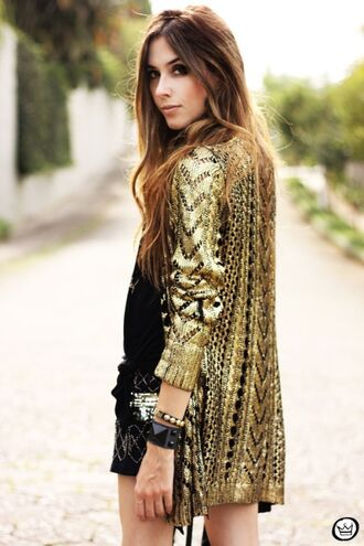 jacket gold sequin jacket gold knitted cardigan
