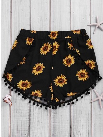 shorts girly girl girly wishlist sunflower fashion trendy pom pom shorts flowered shorts black summer beach fringes floral spring gamiss
