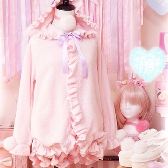 jacket pink fleece ruffles bunny lolita pajamas outerwear cute kawaii frilly ruffle fluffy japanese chinese bunny pajamas