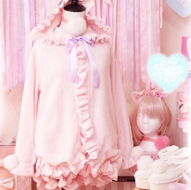 a778333bda jacket pink fleece ruffle bunny bunny lolita pajamas outerwear cute kawaii  frilly ruffle fluffy japanese chinese