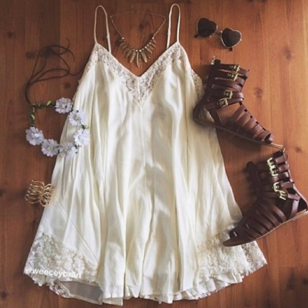 Flower Child Flowy Dress White Paper Hearts Indie Bohemian Clothing Boho Chic Clothes And