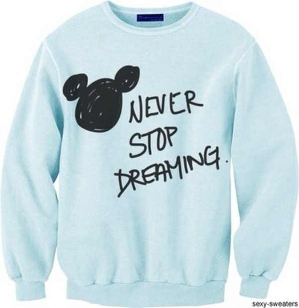 sweater blue disney new years resolution sweatshirt mickey mouse light blue disney sweater top polyvore