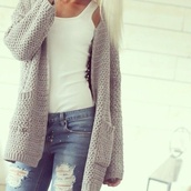 cardigan,jacket,white tank top,grey cardigan,jeans,whole oufit,grey sweater,tank top,white t-shirt,pocket cardigan