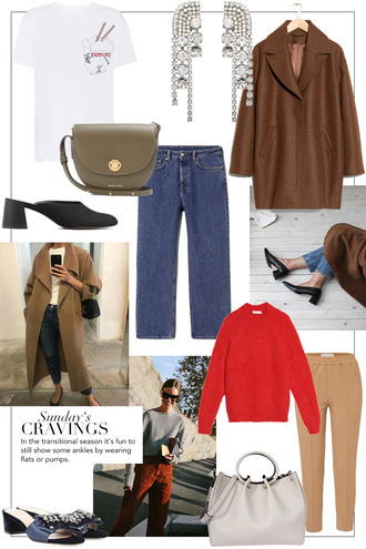 teetharejade blogger shoes jeans t-shirt jewels bag coat sweater pants fall outfits brown coat red sweater handbag