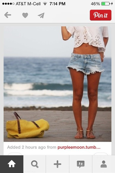 white crop tops shorts summer jeans jean shorts cut off shorts beach eyelet