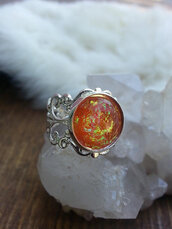 jewels,the glitzy hen,amber,opal,orang,orange,orange ring,opal ring,amber opal ring,lace rin,lace ring,silver,silver ring
